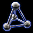 Simple steel molecular structure on black 3D - Stock Photo