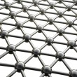 Stock Photo: Simple steel molecular structure on white background 3D
