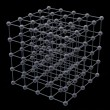 Stock Photo: Cube from steel balls on black background 3d