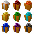 Collection yellow gift boxes with color ribbon and bows — Stock Photo #20327603