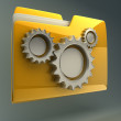 Folder icon with gear wheels — Stock Photo