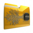 3D Yellow folder Computer microchip — Stock Photo