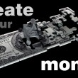 100 US dollars the Puzzle. High resolution 3D image Create your money. — Stock Photo