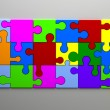 Colorful Puzzle 3d. Team concept — Stock Photo