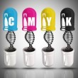 Stock Photo: CMYK Concept capsule and molecule DNstructure high resolution 3d illustration