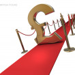 British pound symbol on a red carpet — Foto de Stock