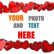 Cute red hearts copy space photo border. - Stockfoto