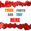 Cute red hearts copy space photo border. - Foto de Stock