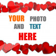 Cute red hearts copy space photo border. — Stock Photo #20329035