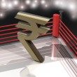 Boxing ring with Indian rupee symbol — Stock Photo