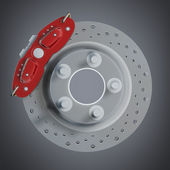 Brake disk with a red support. High resolution 3d render — Stock Photo