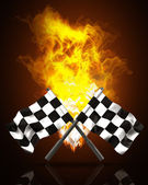 Two crossed checkered flags in Fire high resolution 3d illustration — Stock Photo