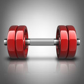 Dumbbells RED. High resolution 3d render — Stockfoto
