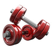 Dumbbell RED isolated on white background. — Stock Photo