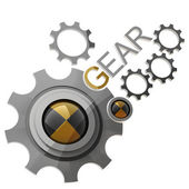 LOGO gear wheels isolated on white background 3d render — Stock Photo