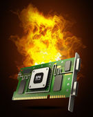 Graphic card GPU in Fire high resolution 3d illustration — Stock Photo
