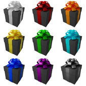 Samling silver presentförpackning med färg band och rosetter — Stockfoto