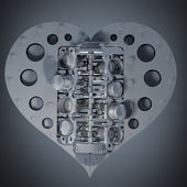 Mechanical heart V8 3d render — Stock Photo