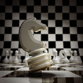 Closeup white chess horse background — Stock Photo