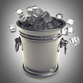 Full of ice bucket. High resolution 3d render — Stock Photo