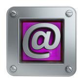 3d-pictogram van de knop met mail-symbool — Stockfoto