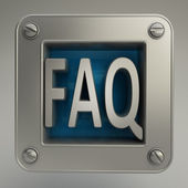 3d ikona przycisku z symbolem faq — Zdjęcie stockowe