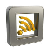 3D button icon with rss symbol — Stock Photo