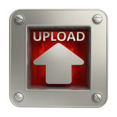 3d-pictogram van de knop met uploaden symbool — Stockfoto