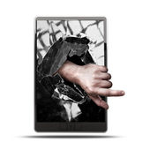 CONCEPT. pad with with broken screen the hand — Stock Photo