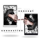 Concept. pad met met gebroken scherm de hand — Stockfoto
