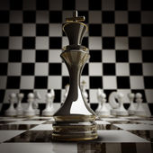 Closeup Black chess king background 3d illustration. — Stock Photo