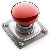 3d illustration of red button closeup — Stock Photo