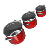 Three red Pan — Stock Photo