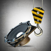 Yellow crane hook lifting Loudspeaker — Stock Photo