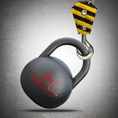 Gele kraan haak hijs halter gewichten — Stockfoto