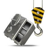 желтый крана крюк подъемного стали банковский сейф — Стоковое фото
