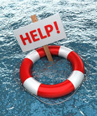 Red life buoy with a sign HELP in the water — Stock Photo
