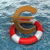 Business concept Red life buoy with a Euro symbol in the water — Stock Photo