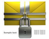 Yellow mail and lock — Stock Photo