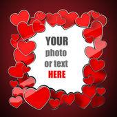 装饰框架。可爱的红色心脏复制空间照片边框. — 图库照片