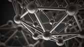3D rendered silver glossy molecules structure — Stock Photo