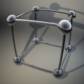 Cube from steel balls background 3d — Stock Photo