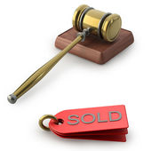 Auction gavel isolated on white background — Stock Photo