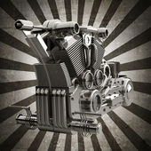 Chromed motorcycle engine sepia toned vintage background — Stock Photo