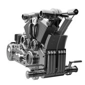 Chromed motorcycle engine — Stock Photo