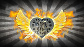 Chromed motorcycle heart engine with wings in Fire. — Stock Photo