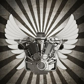 Chromed motorcycle engine with wings sepia toned vintage background. — Stock Photo
