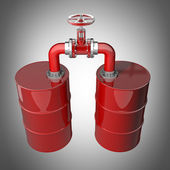 Two red oil barrels with valve 3D — Stock Photo