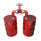 Two red oil barrels with valve i — Stock Photo