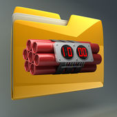 Yellow folder with Explosives alarm clock — Stock Photo